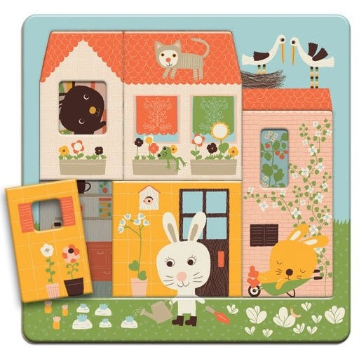 rabbit cottage 3 layer wooden puzzle