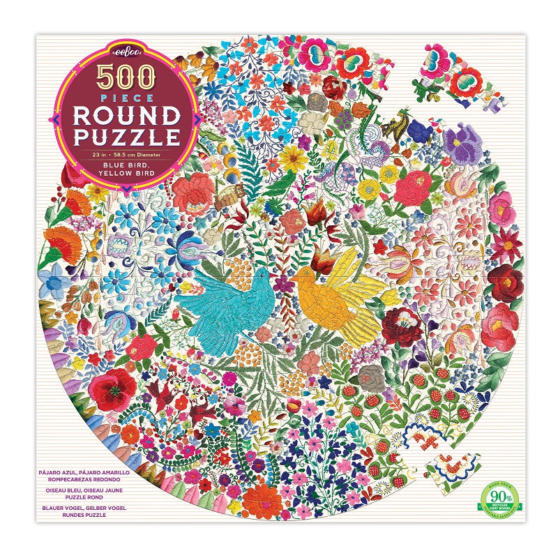 blue bird round puzzle - 500 piece