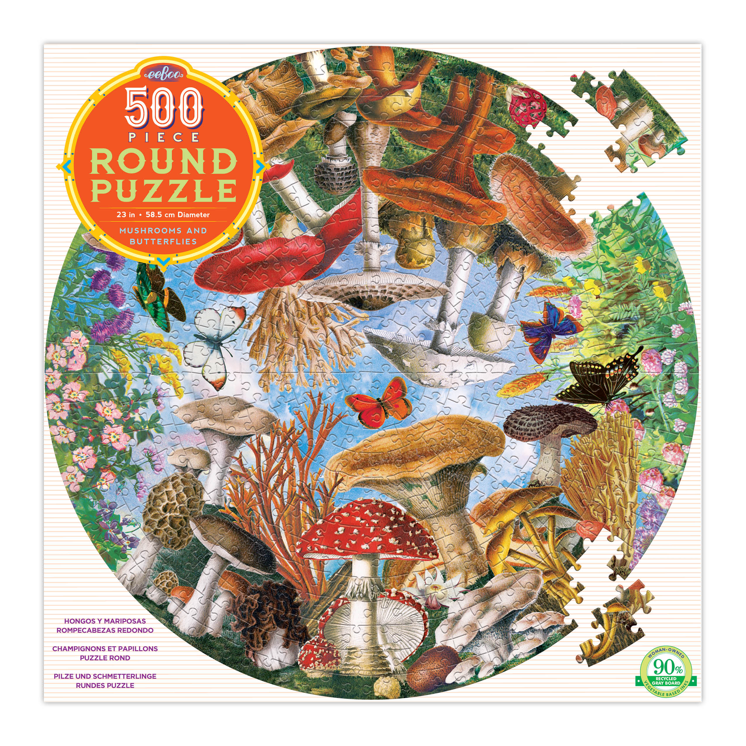 mushrooms and butterflies round puzzle - 500 piece