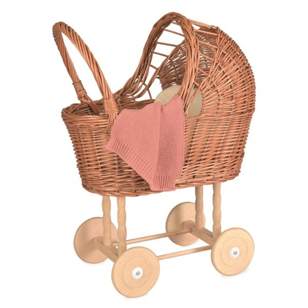 wicker pram - small; with knitted blanket