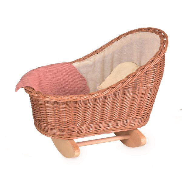 wicker rocking cradle - natural; with knitted blanket