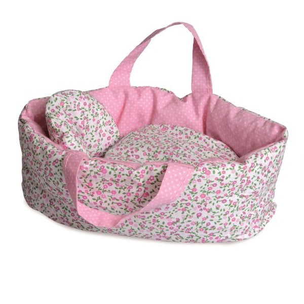 pink floral doll carrier - large