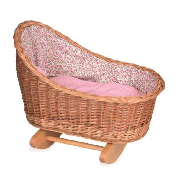 wicker rocking cradle - floral