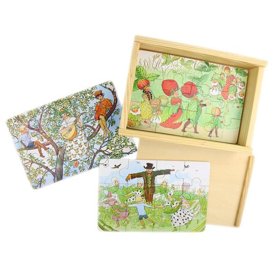 'the flower festival' boxed puzzles - set of 4, 12 piece
