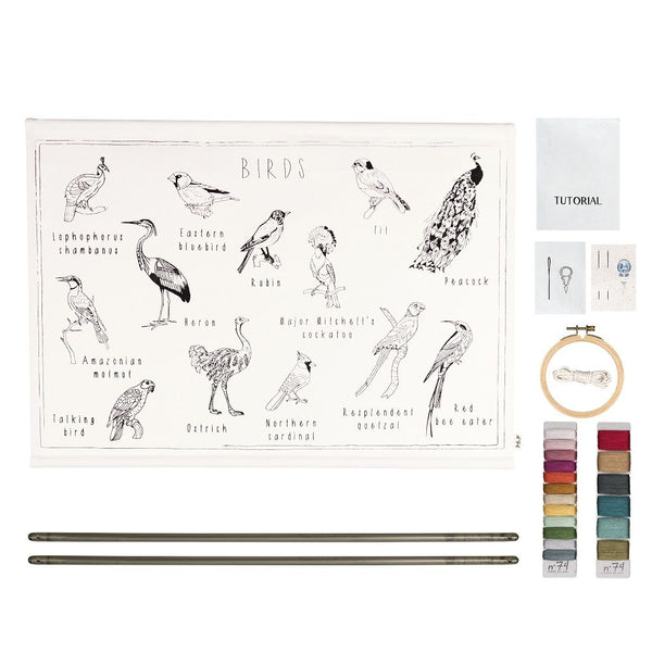 birds embroidery poster kit