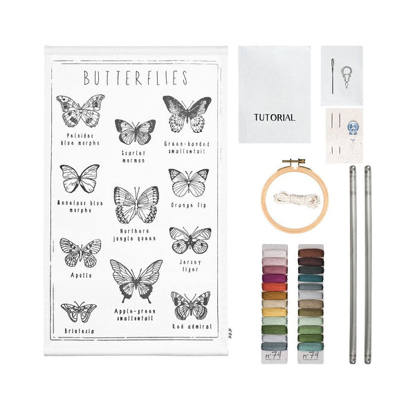 butterflies embroidery poster kit
