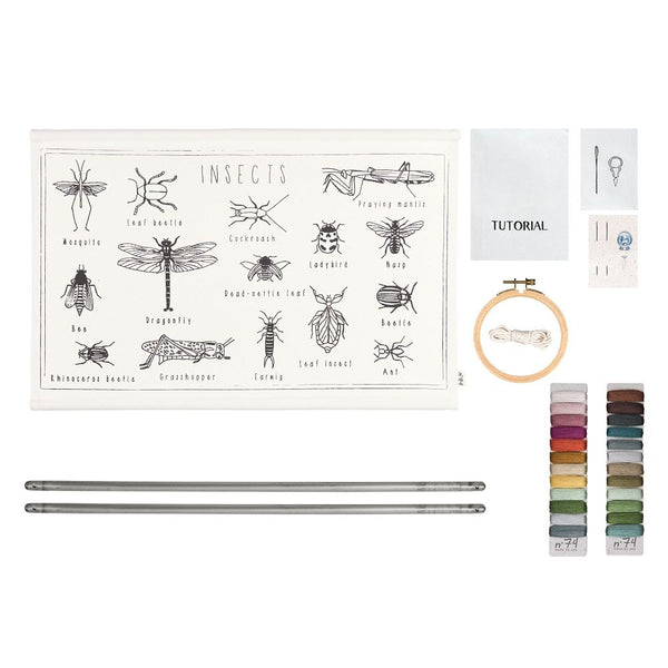 insect embroidery poster kit