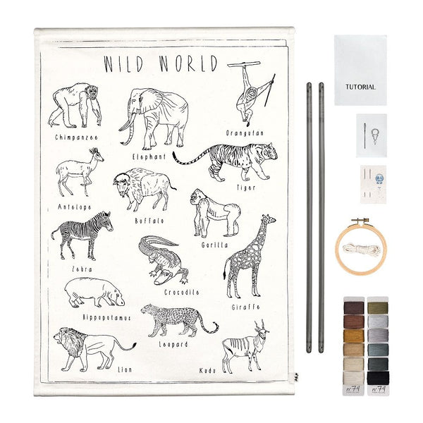 wild animals embroidery poster kit