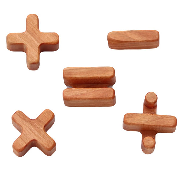 wooden maths symbols