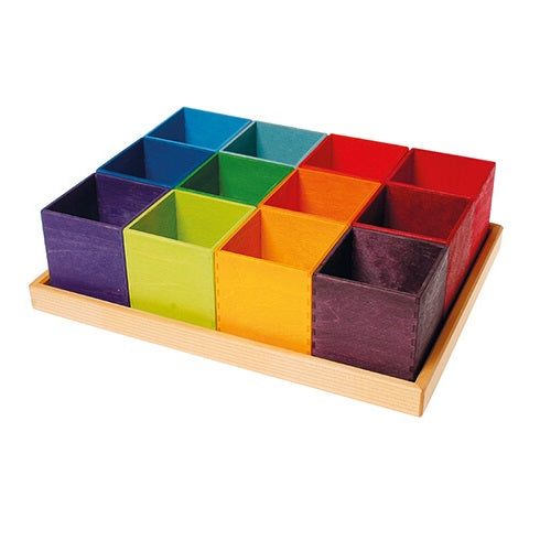 coloured sorting boxes