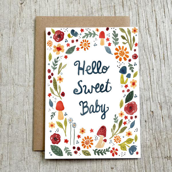 'hello sweet baby' greeting card
