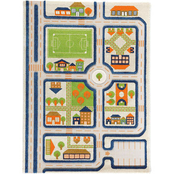 traffic play rug, blue; large