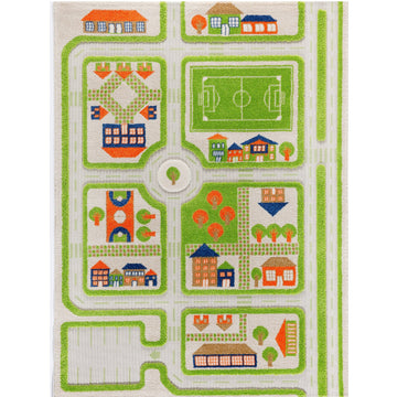traffic play rug, green; large