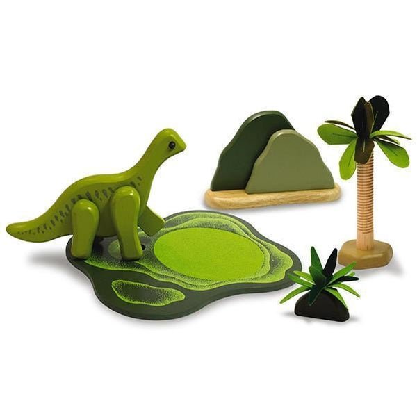 wooden dinosaur savannah set