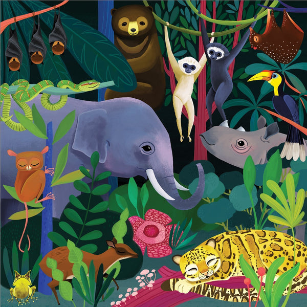 glow in the dark jungle puzzle - 500 piece