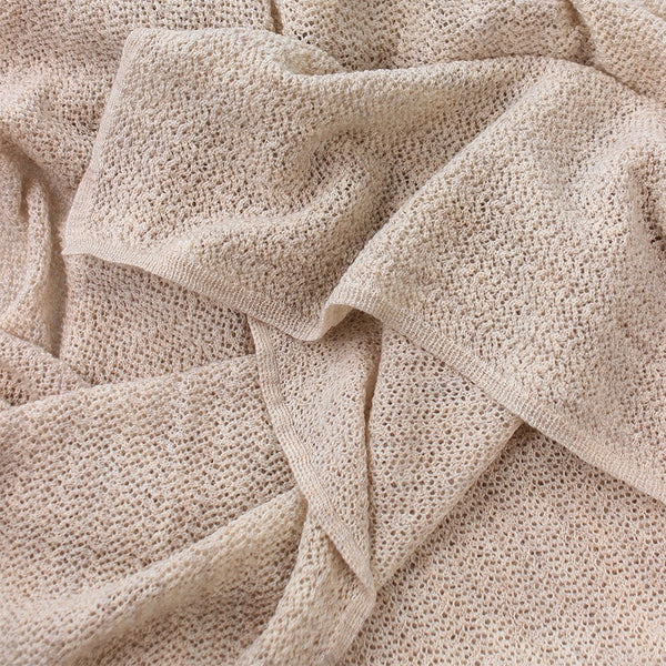 lace knit baby blanket - sand