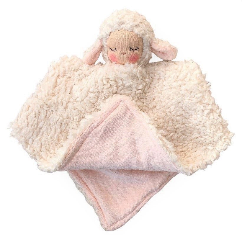 lamb blankie - fair with pink lining