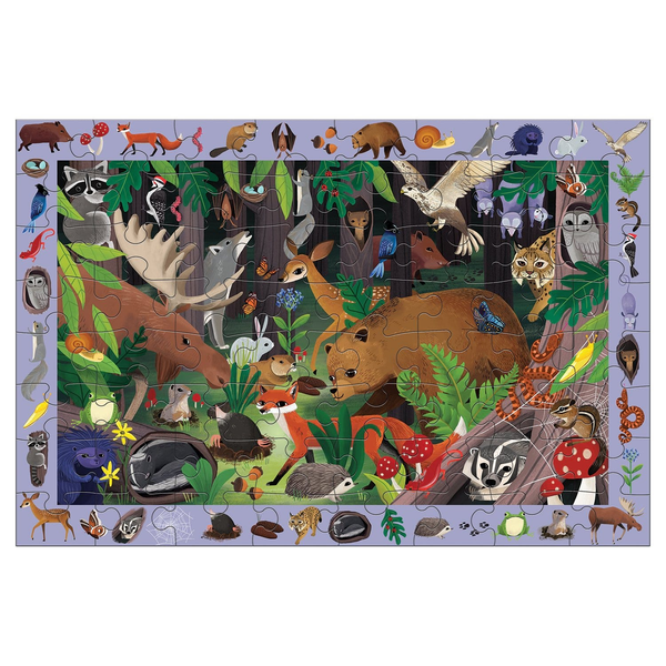 woodland life, search and find puzzle
