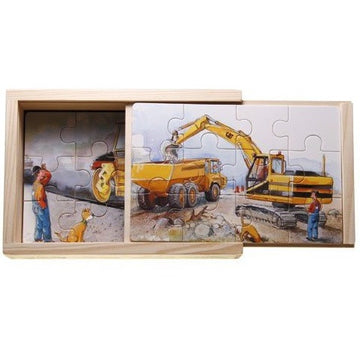 'mulle meck' trucks and diggers boxed puzzles - set of 4, 12 piece