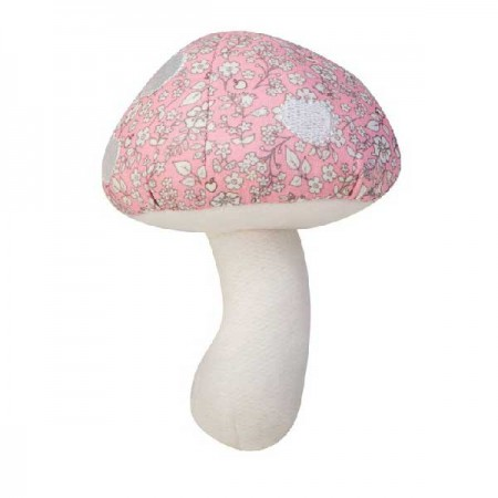 toadstool rattle - pink floral