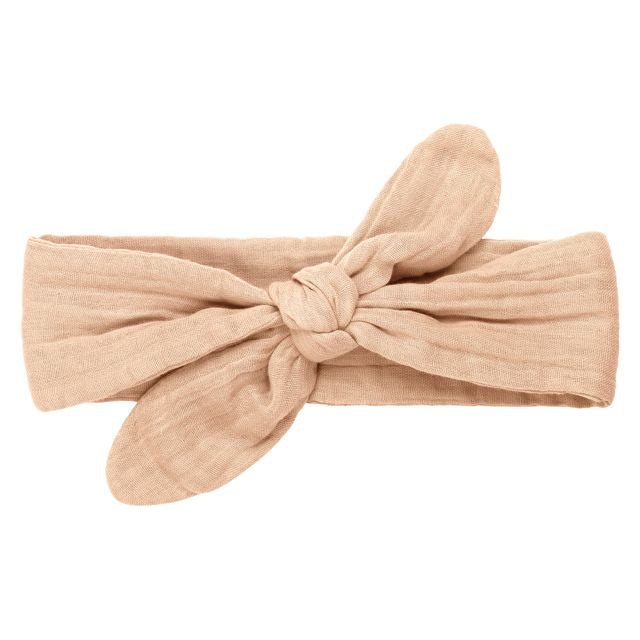 romy bow headband - pale peach