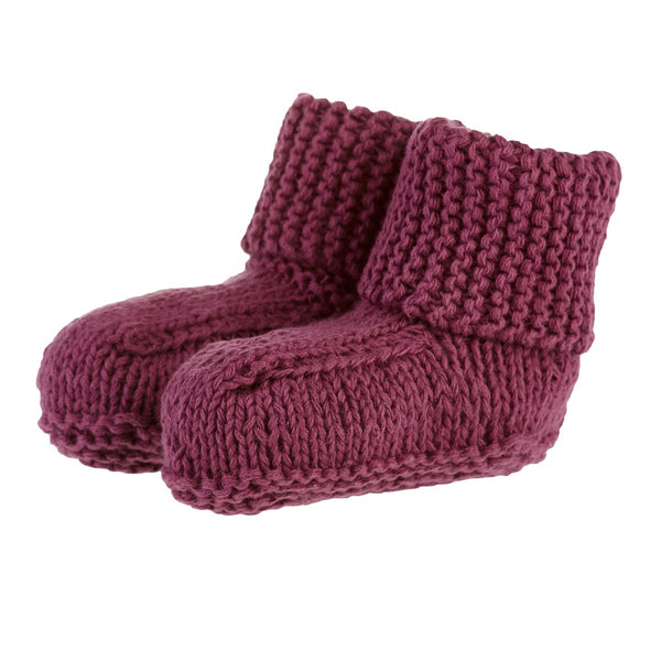 organic cotton baby booties - amethyst