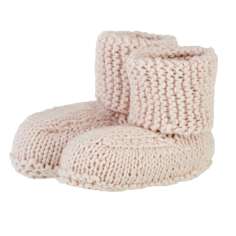 organic cotton baby booties - clay