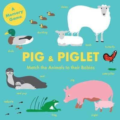 pig and piglet; match the animals to their babies memory game