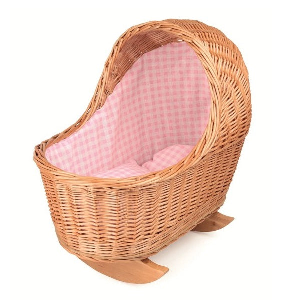 wicker rocking cradle - pink