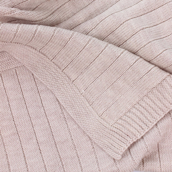pip knitted baby blanket - sand