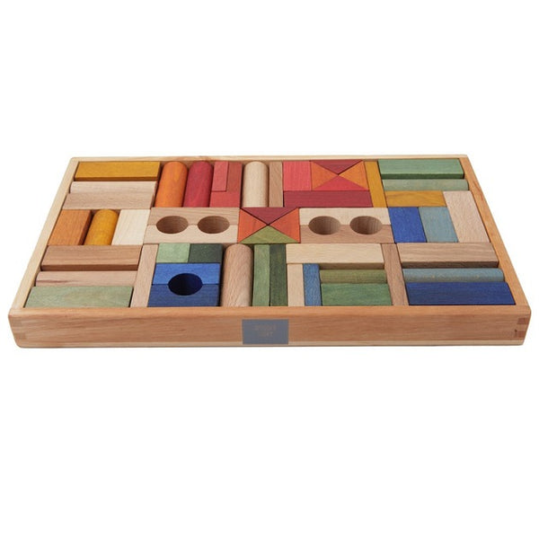rainbow wooden block set - 54 piece