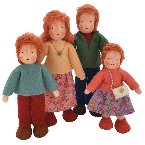 red hair dollhouse family