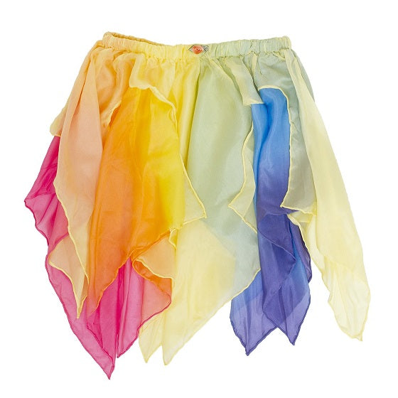 silk fairy skirt - yellow/rainbow