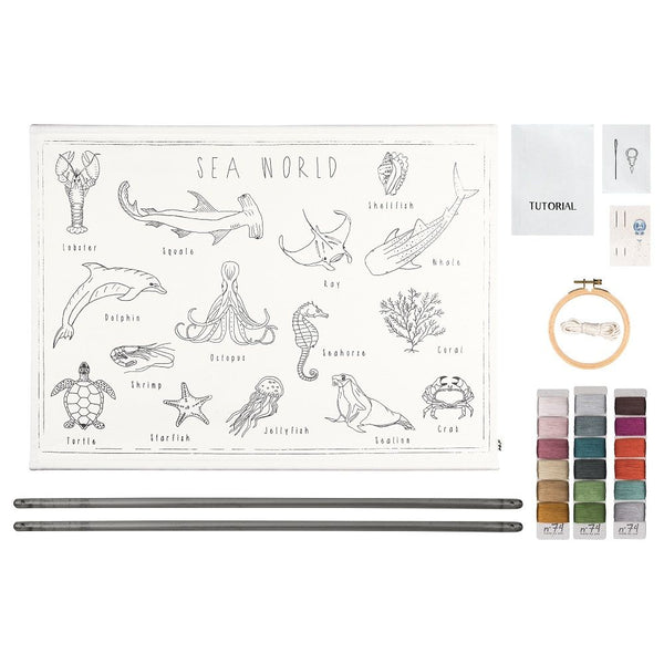 sea world embroidery poster kit