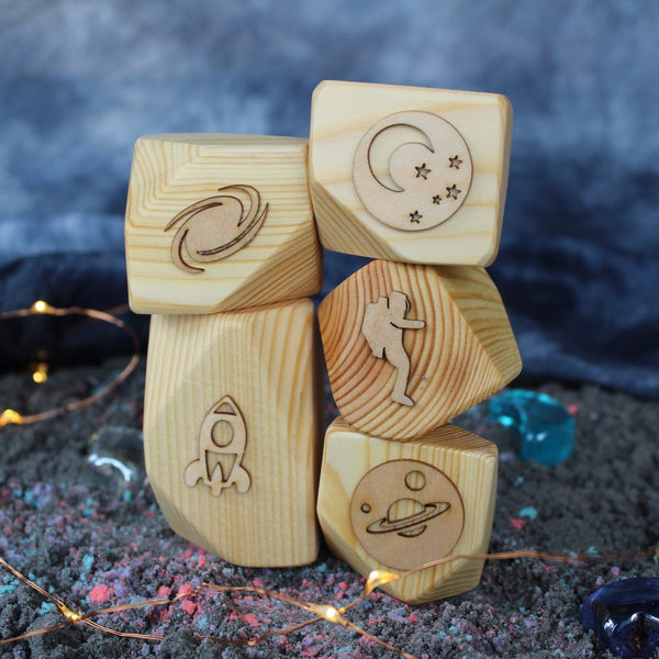 space wooden play dough stamps