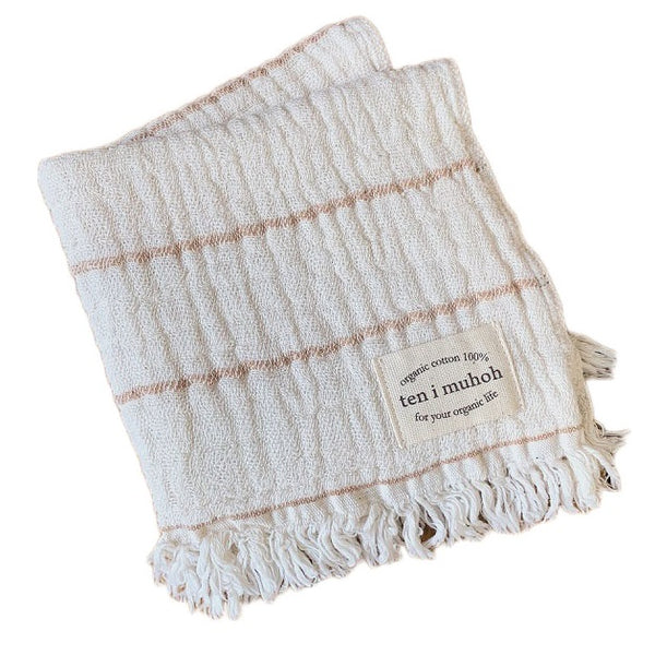 organic cotton face cloth - clay stripe