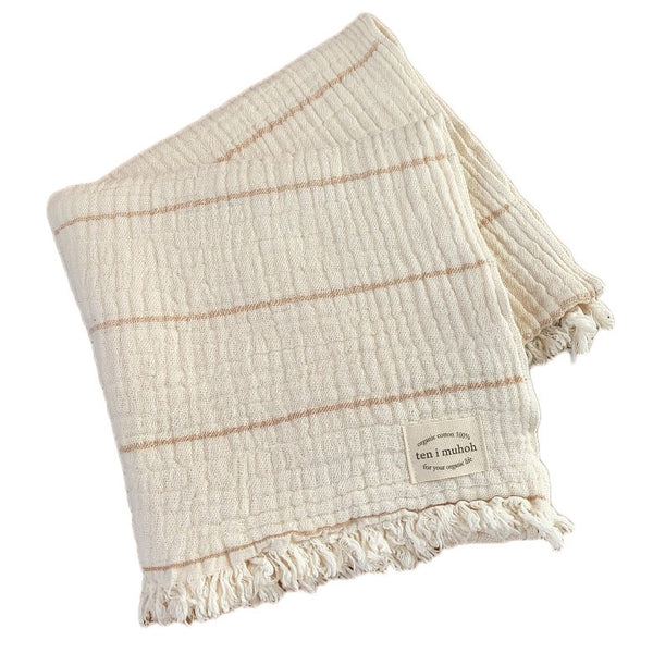 organic cotton towel - clay stripe