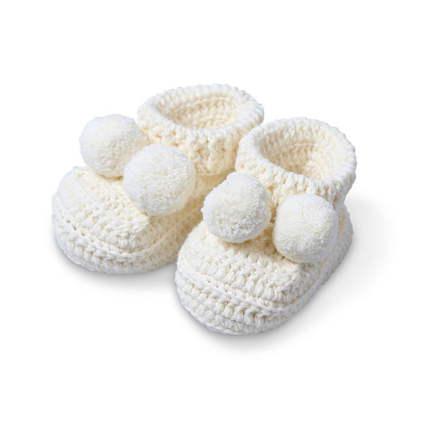 topsy crochet booties - ivory