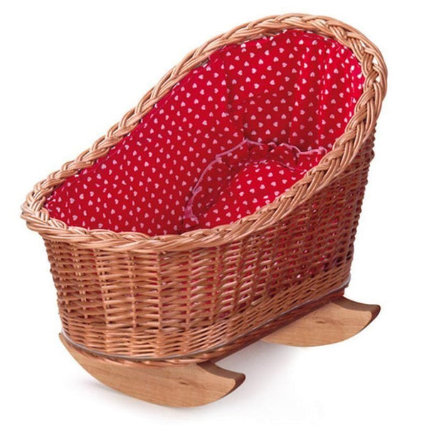 wicker rocking cradle - red