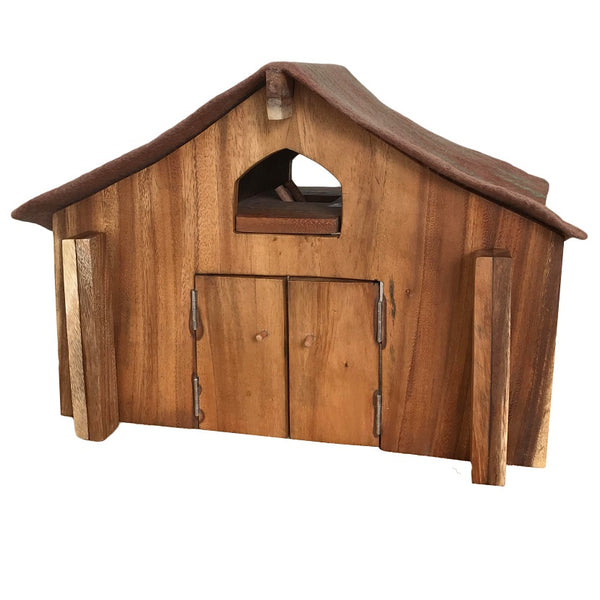 wooden barn with felted roof