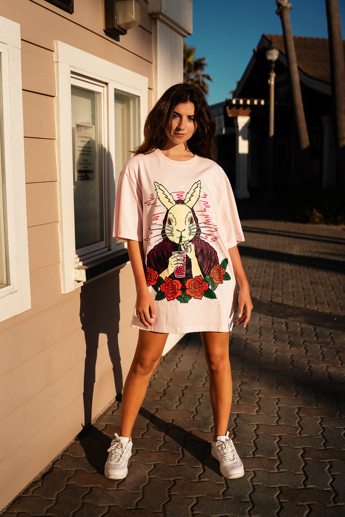 lily spinner wearing a pink boba rabbit t-shirt