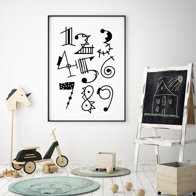 Numbers: Black & White - Children's Room Wall Decor