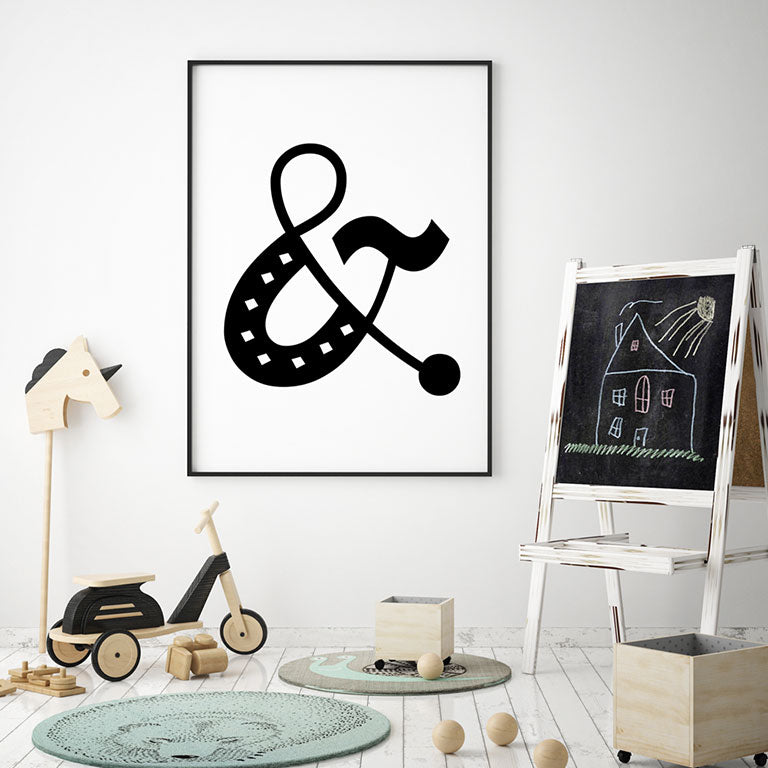 Ampersand Symbol: Black & White - Children's Room