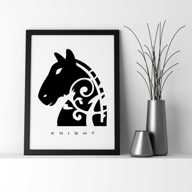 KNIGHT: Chess Piece - Black & White Wall Decor