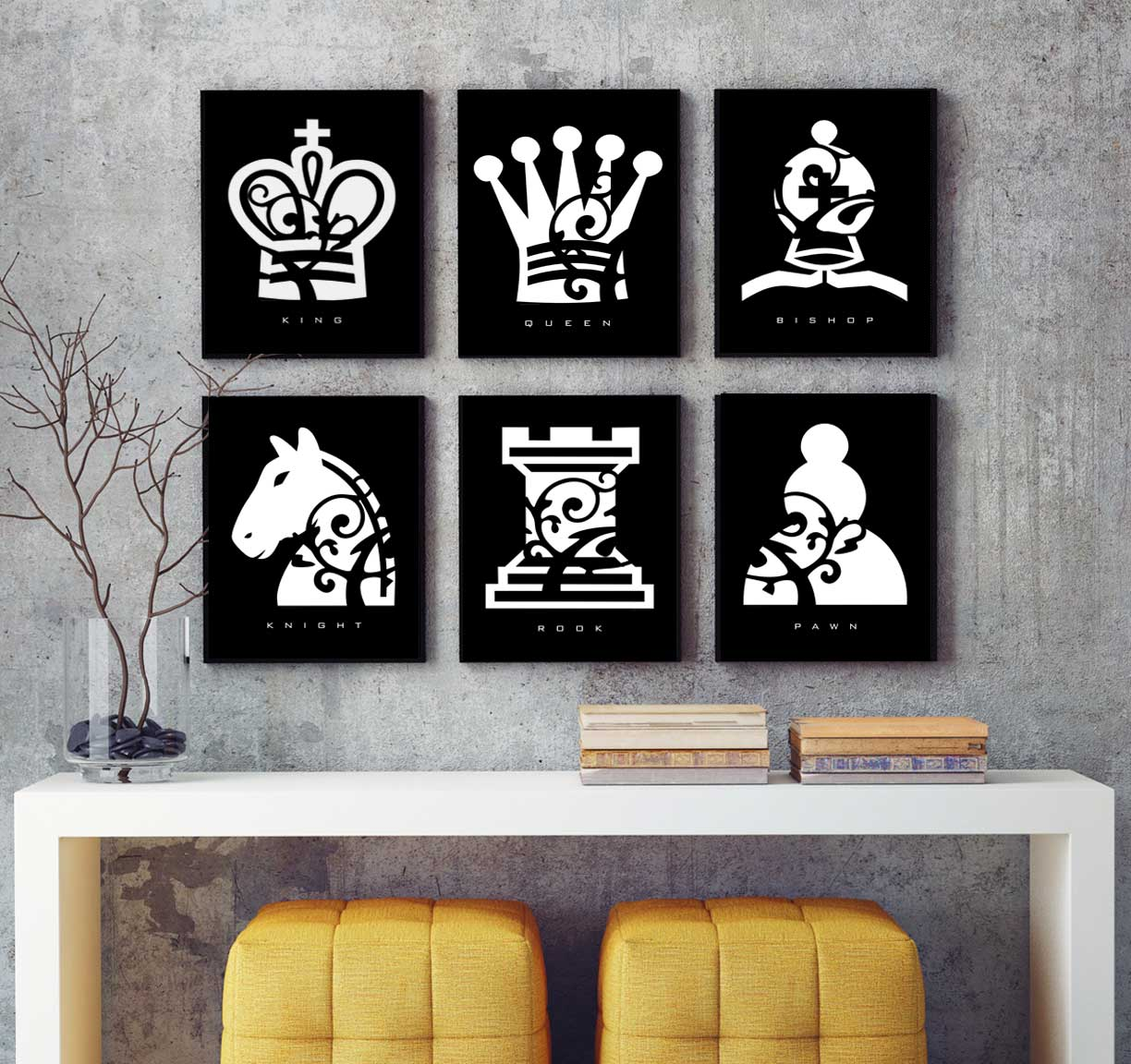 Chess Piece - Black and White - SIX Print Gift Set Prints