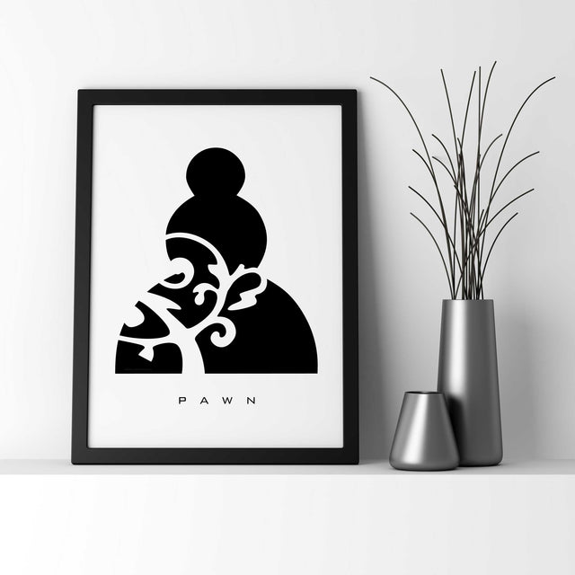 PAWN: Chess Piece - Black & White - Wall Decor