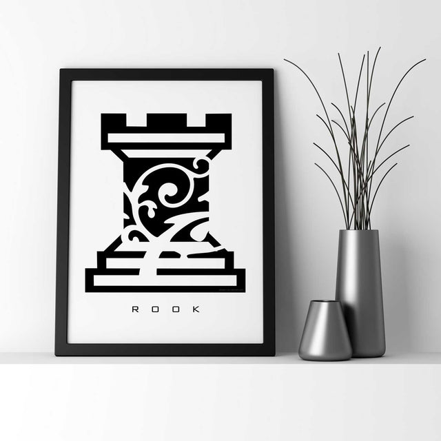 ROOK: Chess Piece - Black & White - Wall Art Print