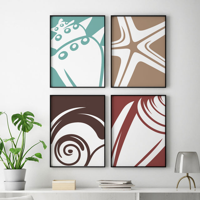 Seashells - 4 Piece Set - Wall Decor