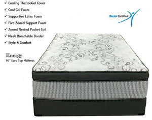 "Back Performance  ENERGY (16"" Euro Top) with Cooling Thermo-Gel Cover - Queen Size"