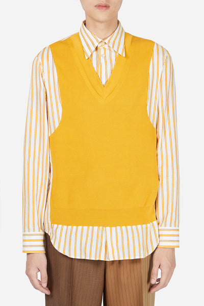 Maison Margiela - White/Yellow Stripe Knit Vest Shirt